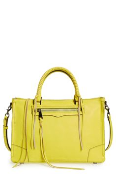 Stand out with this limeade colored satchel from Rebecca Minkoff. It's the perfect size for everyday use!