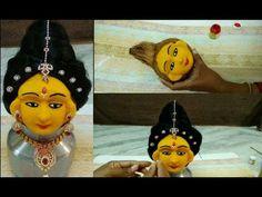 Goddess face making using coconut & clay // varalakshmi ammavari and navaratri devi face making Diy Diwali Decorations, Festival Decorations, Sumo, Baby Cake Smash, Diwali Diy, Homemade Clay, Diy And Crafts, Arts And Crafts, Rangoli Designs With Dots
