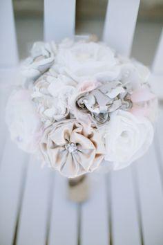 fabric bouquet http://www.ilovefarmweddings.com/2014/04/04/cheryl-scott-married-in-minnesota/