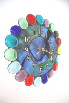 Unique Wall Clock glass.stained glass.art by HarrachGlass on Etsy, $75.00