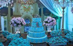 Resultado de imagem para festa de 15 anos ideias azul