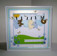 Baby Boy Card - Using dies from #Spellbinders Grand Squares & Curved…
