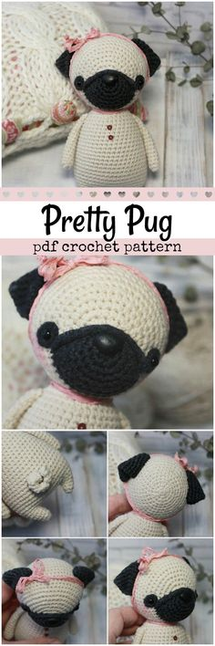Sweet little pug dog toy   pattern to crochet. What a cute little stuffy for a pet loving kid! #etsy #ad #puppy #amigurumi #stuffy #plushie