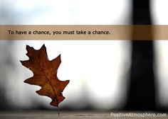 to have a chance,you must take a chance