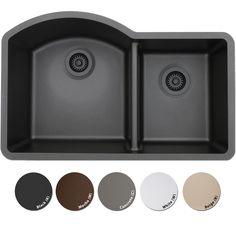 Lexicon PlatinumOffset Double Bowl Quartz Composite Kitchen Sink | Overstock.com Shopping - The Best Deals on Kitchen Sinks