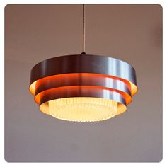 Danish lamp Ceiling hanging lamp 1970s Orange silver by OldAndCold, $155.00
