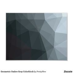 Geometric Ombre Grey Colorblock Poster