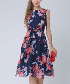 Take a look at this Navy & Pink Floral Sleeveless Dress - Plus Too today!