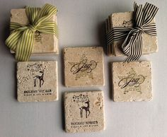 The result of a Stampin' Up Coaster Workshop at  Patty's. Great gift idea for the Holidays!