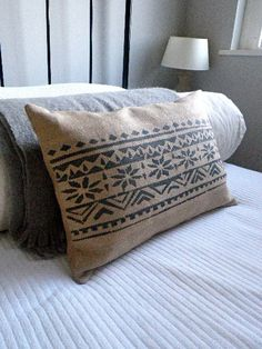 hand printed hessian blue grey fair isle inspired cushion cover