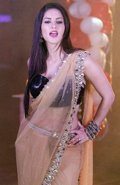 Sunny Leone Hot in Transparent Saree