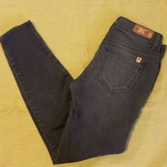 Divine Rights of Denim Skinnies Four pocket gray/black skinny jeans with ankle zippers, low rise and button/zipper fly. Beautiful condition. Divine Rights of Denim Jeans Skinny