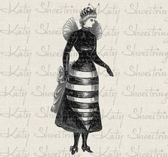 Victorian Lady In Bee Costume Steampunk Digital Image Download Transfer To Totes Burlap T Shirt Pillows Tags Jewelry