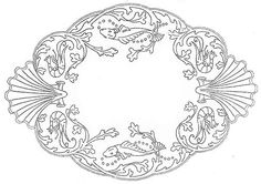shrimp, fish, shells - embroidery pattern