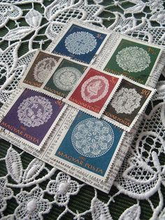 Lace stamp set  Hungary  postage stamp ephemera  by thriftypyg, $4.00