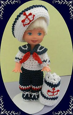 """Crochet Doll Clothes Outfit Sailor Tommy Kelly for 4 ½"""" Kelly Same Size Dolls 