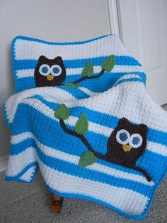 Owl Baby Blanket Aqua and White Baby Shower Gift by abbycove, $95.00