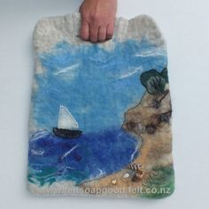 Felt Bag Felted bag Tote bag Seascape Sea Marina New Zealand wool OOAK Unique design Art bag FeltSoapGood