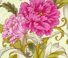 1/2 Yard Quilt Fabric Savannah Large Floral Fabric Pink Olive Green  | auntiechrisquiltfabric - Craft Supplies on ArtFir