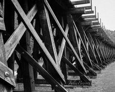 Black and White Railroad Trestle Bridge Photography, Landscape Photography, 8x10, 11x14 on Etsy, $25.00