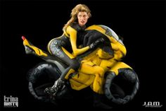 Human Motorcycles Made from Body-Painted Yoga Gurus