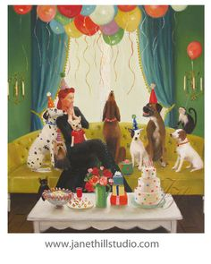 Miss Moon Was A Dog Governess.  Lesson Sixteen:  Practice The Art Of Good Conversation....Art Print #janet #hill #art
