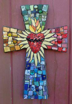 Sacred Heart Mosaic Art Cross