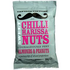 Captain tiptoes Moustache - Chili Harissa Nuts #packaging #pack #mustache #moustache #rebel #blog #style #life #grow #package