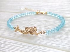 Calypso Mermaid Jewelry bracelet in Gold-filled & Natural Bronze, Beach Gift, Aqua Gemstone Rondelles, Ocean Inspired, Gift for Her on Etsy, $40.00