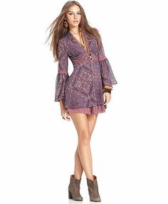 Free People Dress, Long-Sleeve V-Neck Paisley-Print Lace