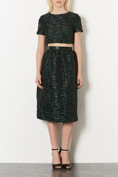 **LIMITED EDITION Poppy Crop and Midi Skirt Co-ord Green poppy jacquard structured crop tee w/ matching midi length skirt.