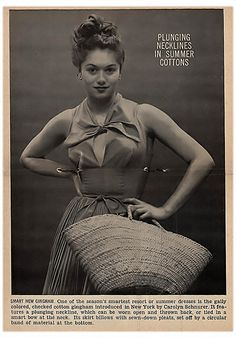 Plunging Necklines In Summer Cottons - Jet Magazine, Feb 28, 1952 by Carolyn Schnurer  I love this bc the style is clearly vintage but the pose looks kind of modern.