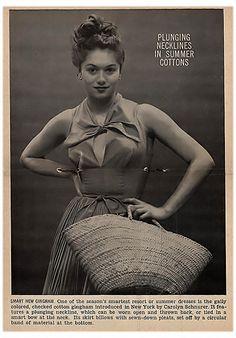 Plunging Necklines In Summer Cottons - Jet Magazine, Feb 28, 1952 by Carolyn  Schnurer