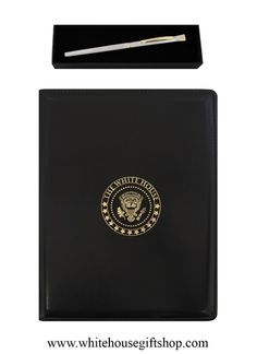 """President of the United States Pen, Hand Etched & Polished Silver Chrome, Roller Ball, White House Seal in Dome, Blue Ink (blue or black refills available), Made in the USA, Plus the White House Gold Seal Portfolio (Holds 8.5"""" x 11"""" Standard Paper Pads).  Enter Promo Code """"PIN"""" for 10% off your entire order!"""