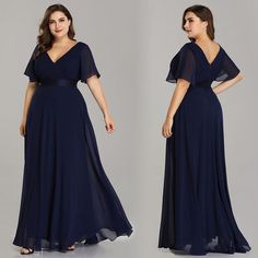 Plus Size Evening Dresses Ever Pretty V-neck Nay Blue Elegant A-line Chiffon Long Party Gowns 2019 Short Sleeve Occasion Dresses Evening Dress Long, Evening Dresses Plus Size, Cheap Evening Dresses, Plus Size Dresses, Plus Size Gala Dress, Prom Dresses Long Pink, Bridesmaid Dresses Plus Size, Formal Dresses For Women, Elegant Dresses