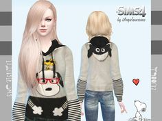 The Sims Resource: Snoopy Sweatshirt by Angie Lover Sims • Sims 4 Downloads