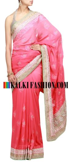 Buy Online from the link below. We ship worldwide (Free Shipping over US$100) http://www.kalkifashion.com/shade-saree-in-red-with-resham-embroidery.html Shade saree in red with resham embroidery