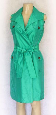 RICKIE FREEMAN TERI JON Silk Taffeta Dress 8 M Green Trench Style Tie Cocktail #TeriJon #Cocktail