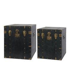 Love this Black & Antique Gold Rustico Trunk Set on #zulily! #zulilyfinds