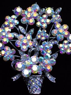 "RHINESTONE SPRING MOTHERS DAY EASTER FLOWER BASKET VASE PIN BROOCH JEWELRY 2.50"" #Unbranded #PINBROOCHJEWELRY"