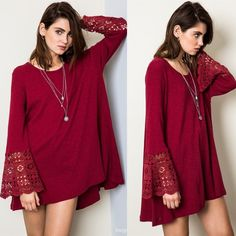 1DAYSALE Star Splitter Bell Lace Sleeved Tunic Top Bell sleeved tunic top with lace. Available in burgundy and toffee. This listing is for the BURGUNDY. Brand new. True to size. NO TRADES. Bare Anthology Tops Tees - Long Sleeve