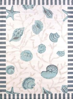 "5x8 (5'3"" x 7'2"") Coastal Beach Tropical Ocean Shells Starfish Blue Area Rug #Tropical"