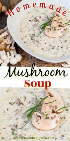 Homemade Mushroom Soup that is incredibly flavorful and so easy to make. You may never buy soup in a can again after trying this recipe! Homemade Mushroom Soup, Mushroom Soup Recipes, Easy Soup Recipes, Kitchen Recipes, Gourmet Recipes, Most Popular Recipes, Favorite Recipes, Soups And Stews, I Foods