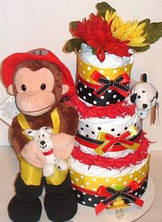 Little Fireman Curious George Diaper Cake by RainbowShowers, $53.00