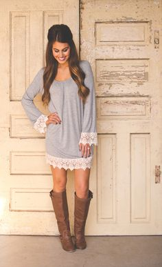 Dottie Couture Boutique - Crochet Sleeve Tunic- Grey, $39.00 (http://www.dottiecouture.com/crochet-sleeve-tunic-grey/)