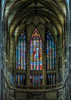 The apse of St.Vitus cathedral with stained glasses by Max Švabinský, Prague, Czechia Sacred Architecture, Beautiful Architecture, Reformation Day, Rivers And Roads, Visit Prague, Glass Photography, Prague Czech Republic, Place Of Worship, Eastern Europe