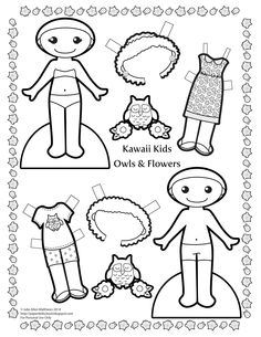 Black and white Kawaii Kids owls and flowers paper doll to color!
