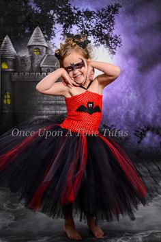 Vampire Bat Halloween Tutu Dress  - Black Red Costume - Little Baby or Girls Size 6 12 18 Months 12M 2T 3T 4t 5 6 7 8 10 12 - Spooky Cute