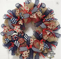 Patriotic of july burlap spiral ruffle deco mesh owl wreath Deco Mesh Crafts, Wreath Crafts, Diy Wreath, Wreath Ideas, Owl Wreaths, Deco Mesh Wreaths, Holiday Wreaths, Burlap Wreaths, Patriotic Wreath