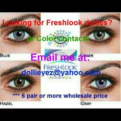 I just added this to my closet on Poshmark: Freshlook color contact dailies 4 colorsNWT. Price: $0 Size: OS